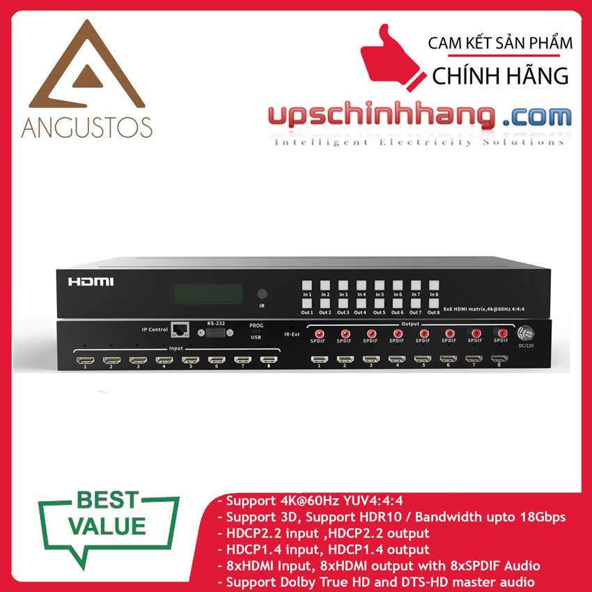 ANGUSTOS KVM0808K6P - HDMI Matrix Switch 8×8, 4K@60HZ 4:4:4