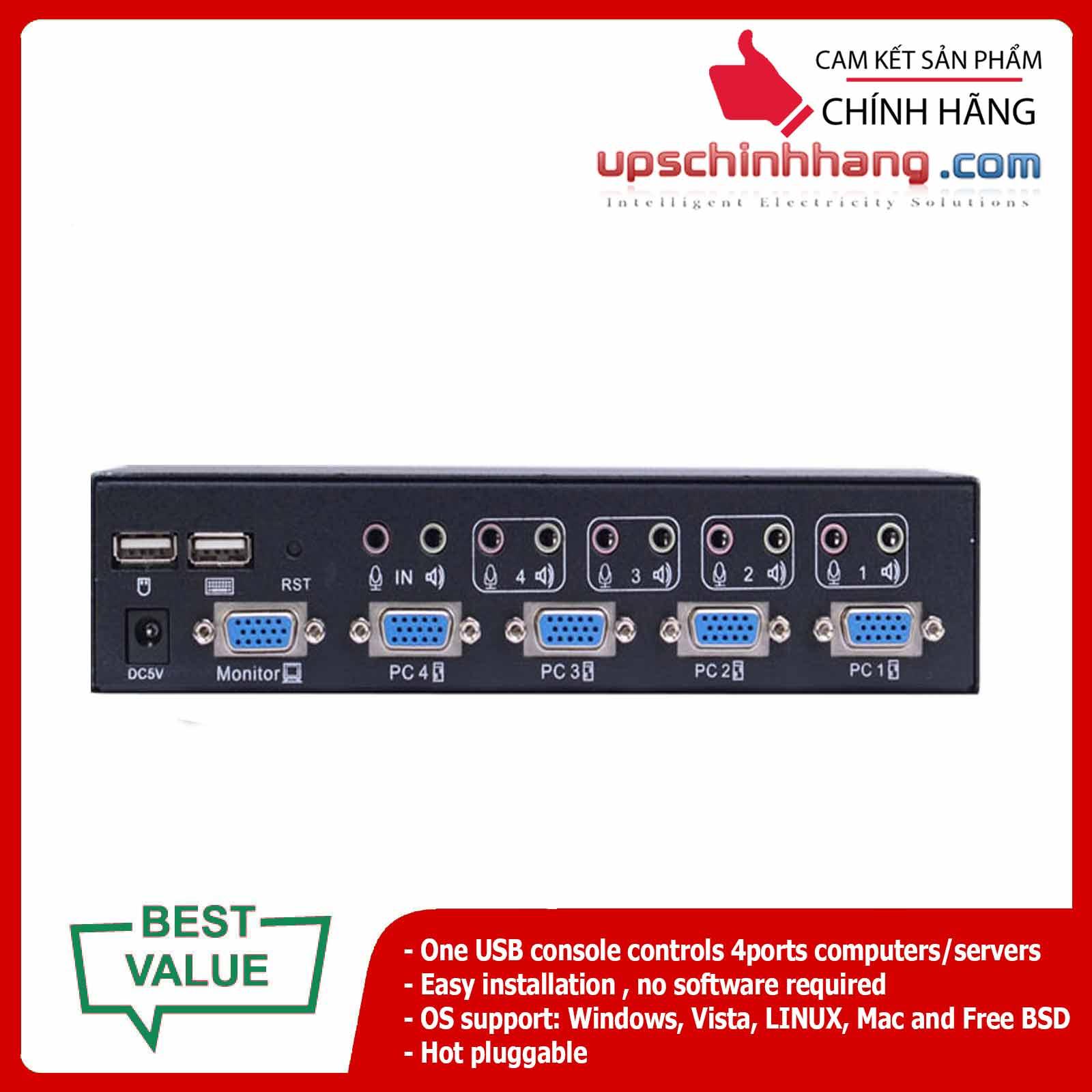 ANGUSTOS AD-V41L - Desktop - 4 Port VGA KVM Switch