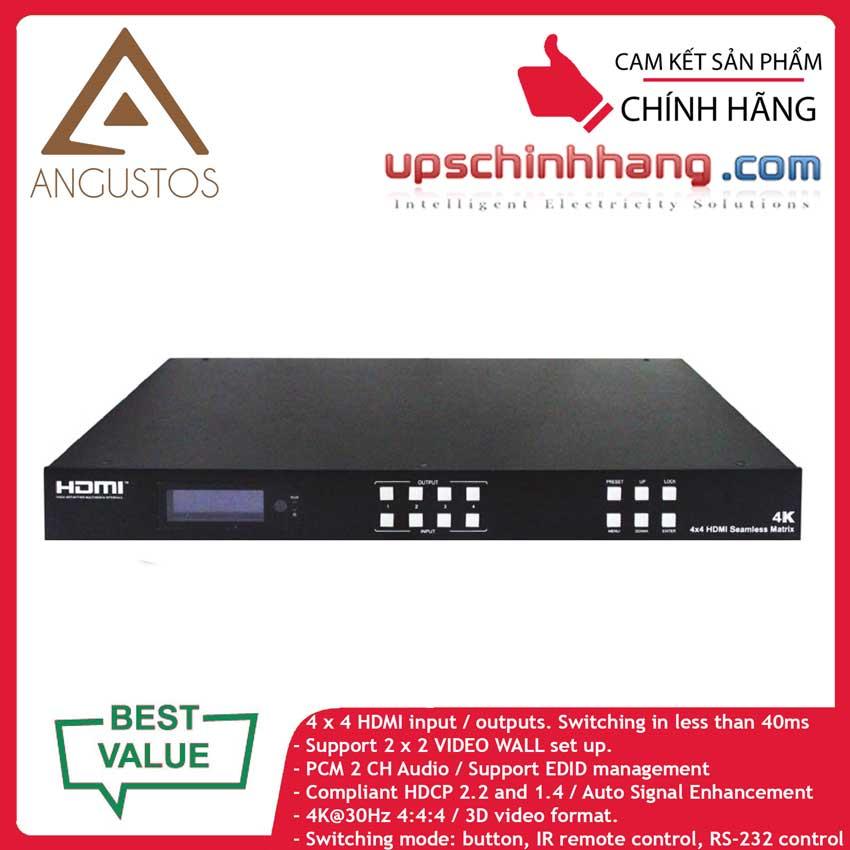 ANGUSTOS KVSMW0404K3 - HDMI Matrix Switch Seamless 4x4, 2x2 Video Wall