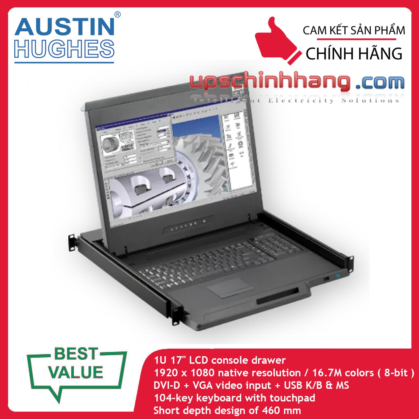 Austin Hughes CyberView F117e | 1U 17inch 1080p LCD Console Drawer