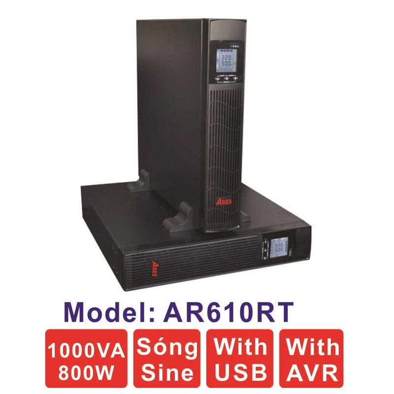 Bộ lưu điện (UPS) ARES AR610RT 1KVA (800W) Dạng Rack