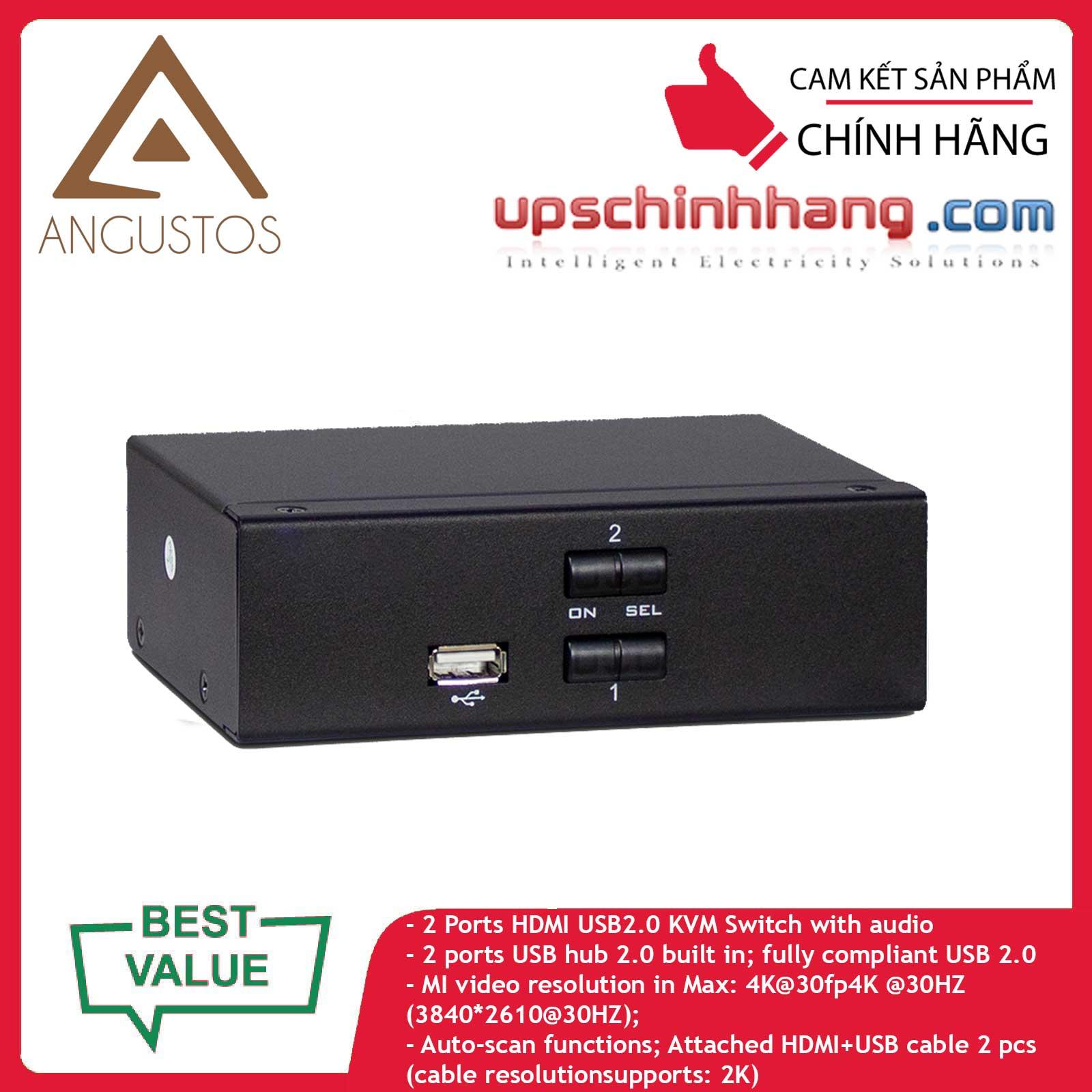 ANGUSTOS AD-H21L - Desktop - 2 Port HDMI KVM Switch