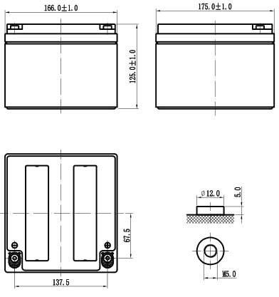 kích thước ắc quy Vision CP12240E-X