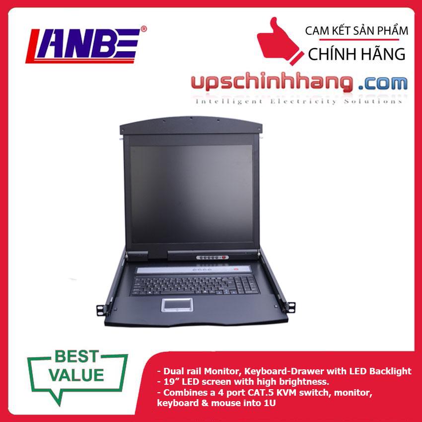 LANBE AS-9104TLD - Dual Rail, 4 Port, 19'' Cat5 LCD KVM Switch