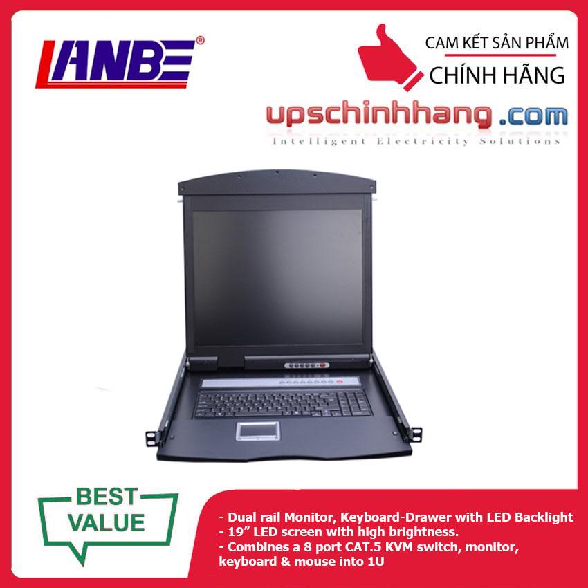 LANBE AS-9108TLD - Dual Rail, 8 Port, 19'' Cat5 LCD KVM Switch
