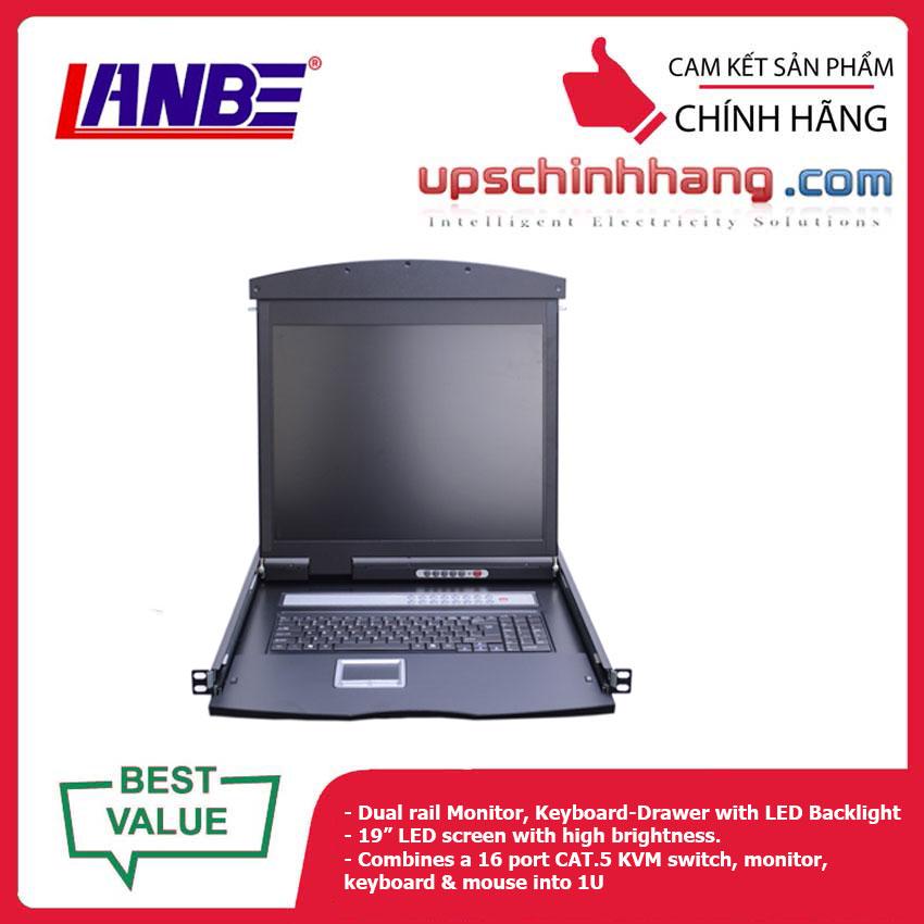 LANBE AS-9116TLD - Dual Rail, 16 Port, 19'' Cat5 LCD KVM Switch