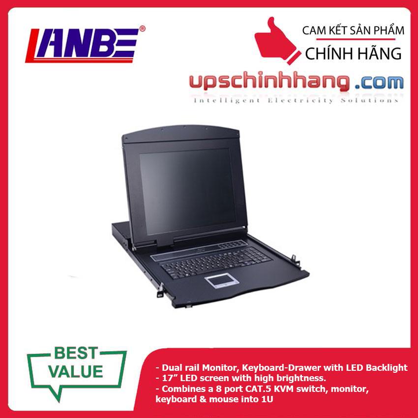 LANBE AS-7108TLD - Dual Rail, 8 Port, 17'' Cat5 LCD KVM Switch