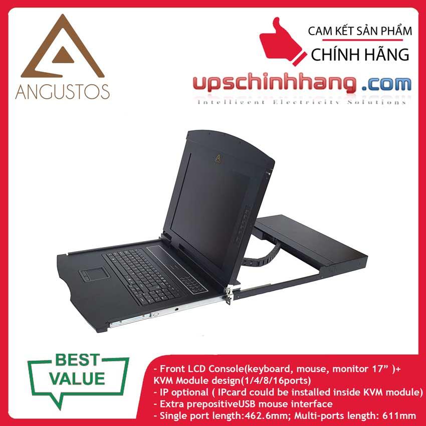 ANGUSTOS AL-UV708L - 17 Inch LCD 8 port CAT5 KVM Single Rail