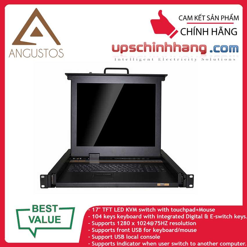 ANGUSTOS AL-UV708P - 1U rack mount 17″ LED Combo Cat 5e/6 KVM Switch 8 Ports