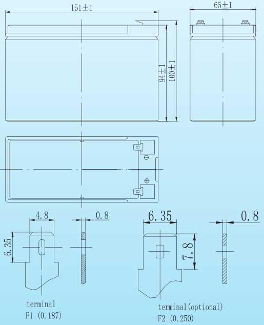 kích thước ắc quy Vision CP1290